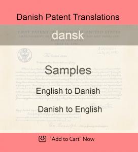 Samples – Danish Patent Translations