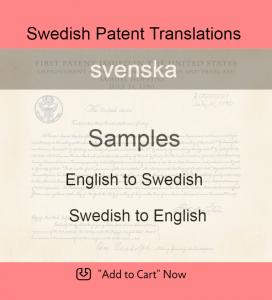 Samples – Swedish Patent Translations