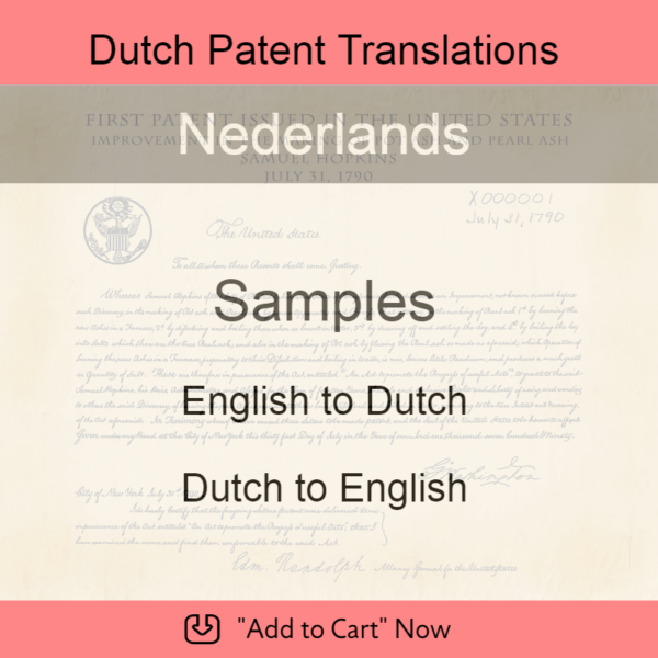 Samples – Dutch Patent Translations
